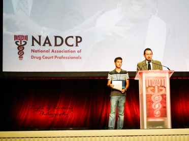 Board President & his son Alex rehearsing recovery testimonies at NADCP Advancing Justice Conference